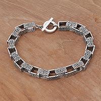 Sterling silver link bracelet, 'Twisting Maze'