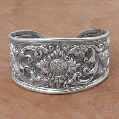 Sterling silver cuff bracelet, 'Courageous Soul' - Sterling Silver Repousse Cuff Bracelet from Indonesia