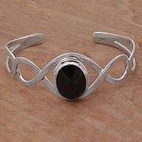 Onyx cuff bracelet, 'Double Helix ' - Onyx and Sterling Silver Modern Balinese Cuff Bracelet