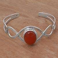 Carnelian cuff bracelet, 'DNA in Scarlet' - Carnelian and Sterling Silver Cuff Bracelet from Indonesia