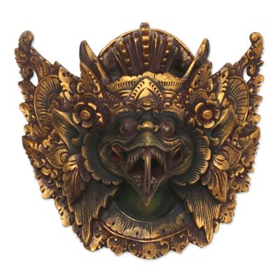 Wood mask, 'King of Birds' - Acacia Wood Wall Mask of Garuda from Indonesia