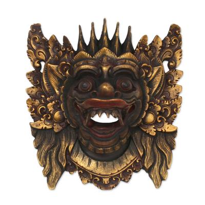 Wood mask, 'Narasinga' - Acacia Wood Wall Mask from Indonesia