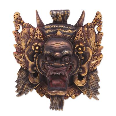 Wood mask, 'Sang Suratama' - Acacia Wood Wall Mask from Indonesia