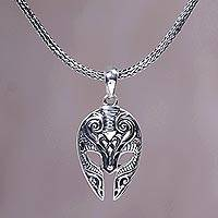 Men's sterling silver pendant necklace, 'Siliwangi Mask' - Sterling Silver Men's Ram Pendant Necklace from Indonesia