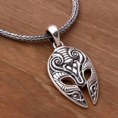 e0445d992ab2c Sterling Silver Men's Ram Pendant Necklace from Indonesia, 'Siliwangi Mask'