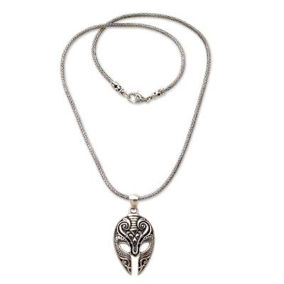 2bafba6f244d0 Sterling Silver Men's Ram Pendant Necklace from Indonesia, 'Siliwangi Mask'