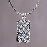 Men's sterling silver pendant necklace, 'Shield of Ken Arok'