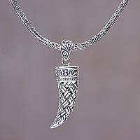 Men's sterling silver pendant necklace, 'Woven Fang' - Sterling Silver Fang Shaped Pendant Necklace from Indonesia