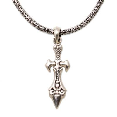 Men's sterling silver pendant necklace, 'Sword of Airlangga' - Sterling Silver Sword Pendant Necklace from Indonesia