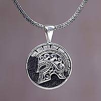 Men's sterling silver pendant necklace, 'Hayam Wuruk Helmet'