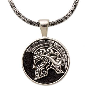 Men's sterling silver pendant necklace, 'Hayam Wuruk Helmet' - Sterling Silver Helmet Pendant Necklace from Indonesia