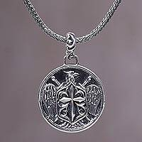 Men's sterling silver pendant necklace, 'Eagle Cross Shield' - Balinese Sterling Silver Eagle and Cross Pendant Necklace