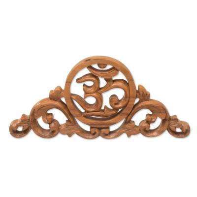 Wood relief panel, 'Sacred Vines' - Hand Carved Suar Wood Wall Relief Panel from Indonesia