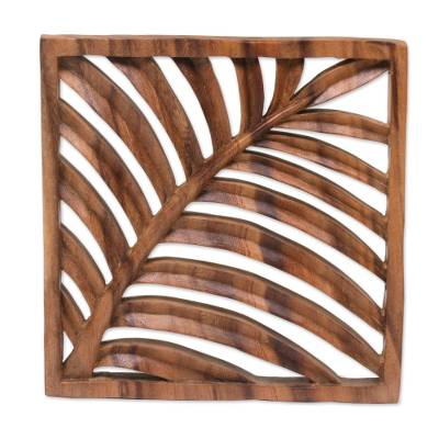 Wood relief panel, 'Tropical Vibes' - Hand Carved Suar Wood Wall Relief Panel from Indonesia