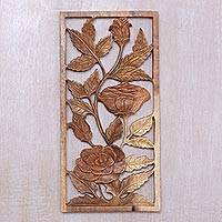 Wood relief panel, 'Graced by Roses' - Hand Carved Balinese Suar Wood Relief Panel of Roses