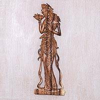 Wood relief panel, 'Enchanting Sri' - Suar Wood Relief Panel of Hindu Goddess Sri from Bali