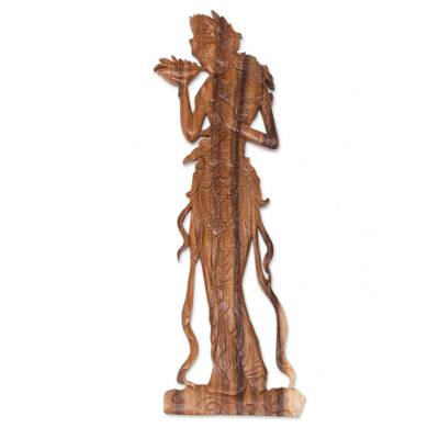 Wood relief panel, 'Enchanting Sri' - Suar Wood Relief Panel of Hindu Goddess Sri from Bali