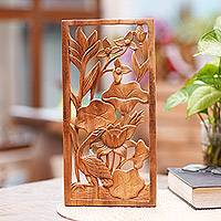 Wood wall panel, 'Heron Pond' - Heron Lilies and Lotus Wall Relief Panel in Hand Carved Wood