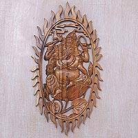 Wood wall panel, 'Ganesha Ring of Fire' - Hindu Art Hand Carved Wall Panel of Ganesha in Ring of Fire