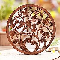 Wood relief panel, 'Vineyard Medallion'