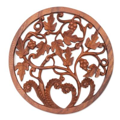 Wood relief panel, 'Vineyard Medallion' - Vineyard Detailed Hand Carved Wood Round Relief Wall Panel