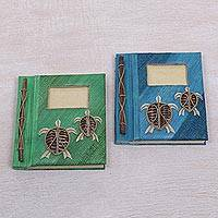 Natural fiber journals, 'Turtle Memories' (pair) - Two Green and Blue Natural Fiber Indonesian Turtle Journals