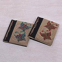 Natural fiber notebooks, 'Butterfly Daze' (pair) - Pair of Natural Fiber Notebooks with Butterfly Motifs