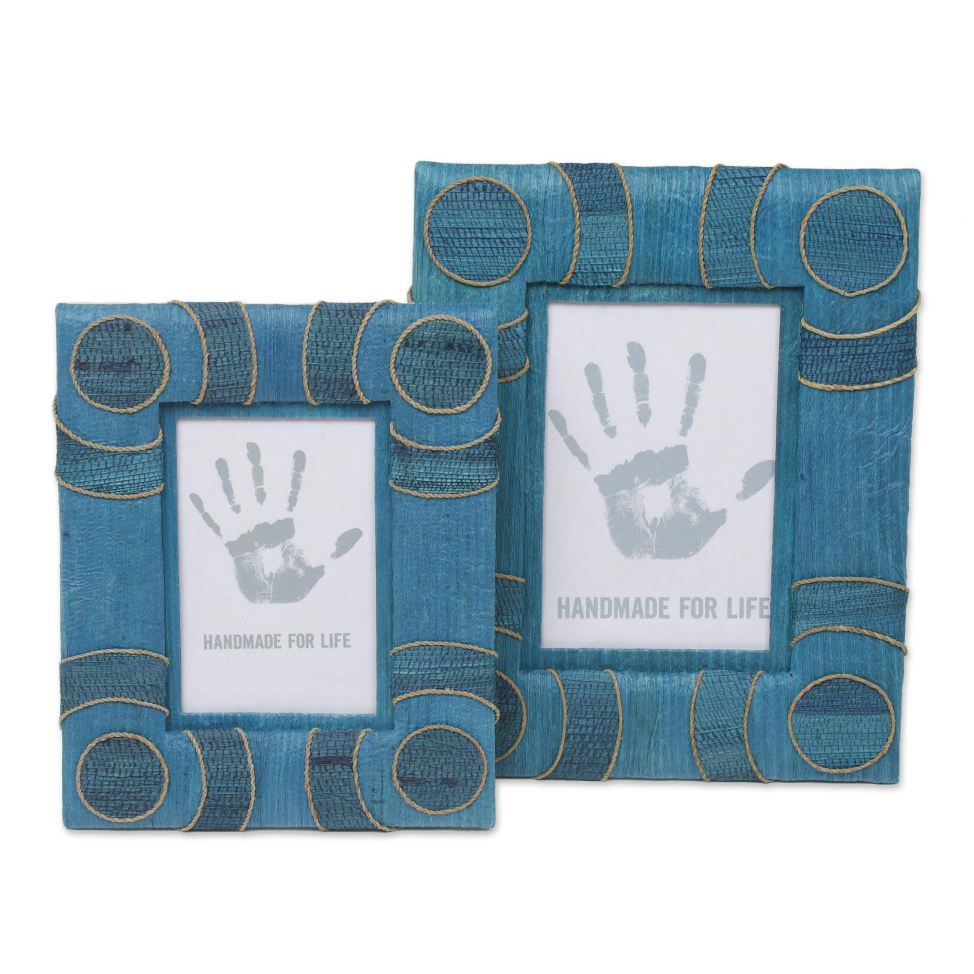 4x6 And 3x5 Indonesian Natural Fiber Photo Frames In Blue Circle