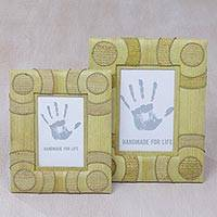 Natural fiber photo frames, 'Circle of Memories in Yellow' (4x6 and 3x5) - 4x6 and 3x5 Natural Fiber Indonesian Photo Frames in Yellow