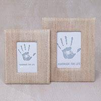 Natural fiber photo frames, 'Rustic Memories in Beige' (4x6 and 3x5) - 4x6 and 3x5 Natural Fiber Rustic Photo Frames in Beige