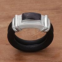 Onyx and rubber band ring, 'Elemental'