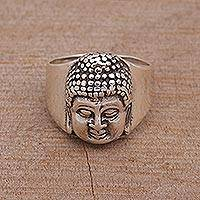Men's sterling silver ring, 'Buddha's Influence'