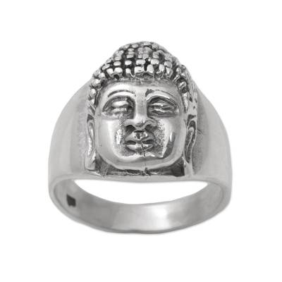 Men's sterling silver ring, 'Buddha's Influence' - Sterling Silver Men's Buddha Band Ring from Bali