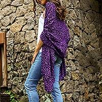 Rayon batik shawl, 'Purple Beach Pebbles'