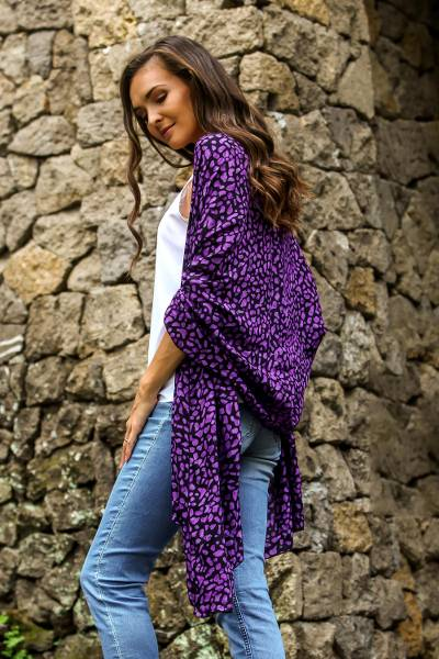 Rayon batik shawl, 'Purple Beach Pebbles' - Balinese Hand Stamped Purple and Black Rayon Batik Shawl