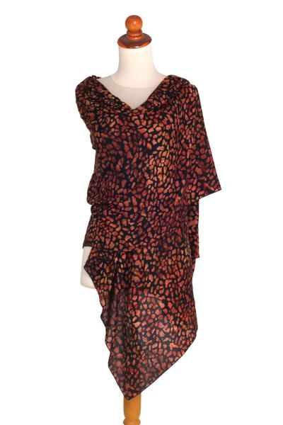 Rayon batik shawl, 'Ginger Beach Pebbles' - Orange and Black Hand Stamped Rayon Batik Shawl from Bali