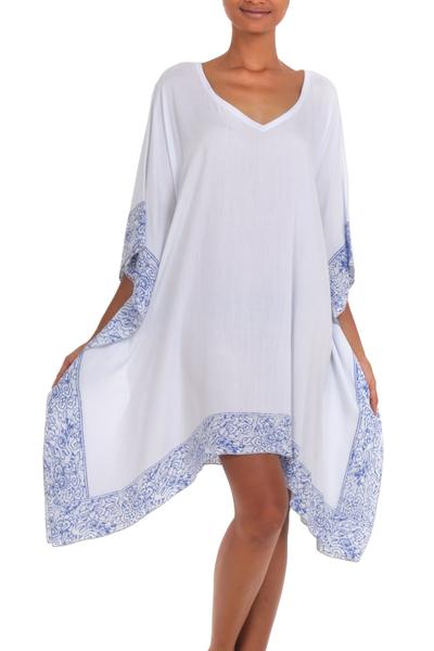 Rayon batik caftan, 'Divine Dusk' - White and Blue 100% Rayon Batik Caftan from Indonesia