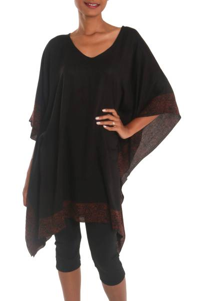 Batik rayon caftan, 'Shadowy Night' - Black and Rust 100% Rayon Batik Women's Caftan from Bali
