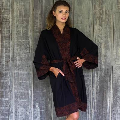 Short rayon robe, 'Bewitching Blossom' - Indonesian Floral Batik Printed Black and Cocoa Short Robe