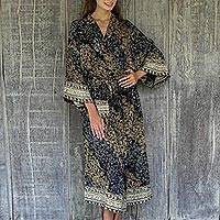 Rayon batik robe, 'Midnight Majesty' - Indonesian Floral Batik Printed Black and Yellow Robe