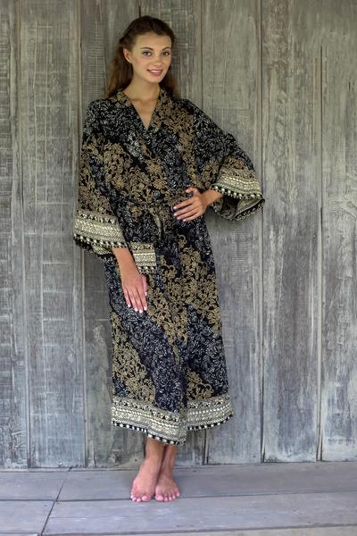 Rayon batik robe, 'Midnight Majesty' - Indonesian Floral Batik Printed Black and Yellow Robe