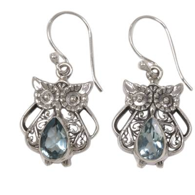 Blue topaz dangle earrings, 'Owl's Tears' - Blue Topaz and Sterling Silver Owl Earrings from Indonesia