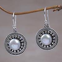 Cultured pearl dangle earrings, 'Moonlight Dance'