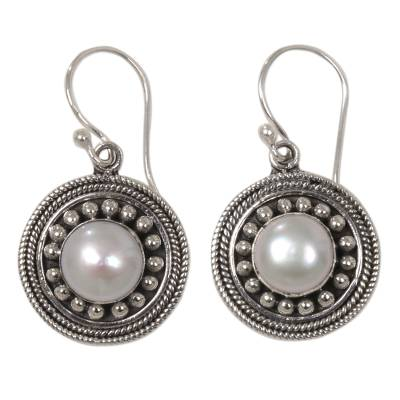 Cultured pearl dangle earrings, 'Moonlight Dance' - Culture Mabe Pearl and Sterling Silver Dangle Earrings