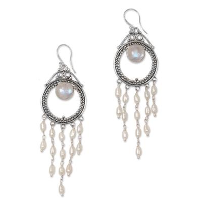 Indonesian Pearl Rainbow Moonstone Chandelier Earrings