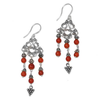 Indonesian Handmade Sterling Silver and Carnelian Earrings