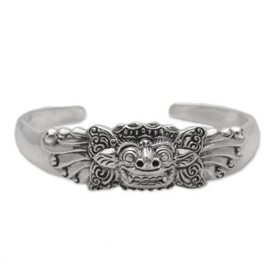 Sterling silver cuff bracelet, 'Smiling Barong' - Sterling Silver Barong Cuff Bracelet NOVICA from Indonesia