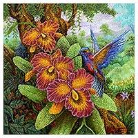 'Hummingbird Hunt' - Balinese Pointillist Painting of a Hummingbird and Orchids