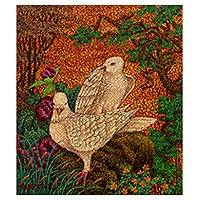 'Dove Love' - Original Signed Dove Theme Balinese Pointillist Painting