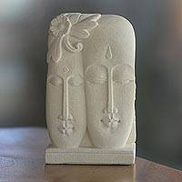 Sandstone sculpture, 'Love Together' - Hand Crafted Indonesian Sandstone Sculpture of Two Faces